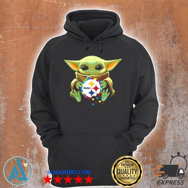 Baby Yoda hug pitbull Steelers logo 2021 s Unisex Hoodie