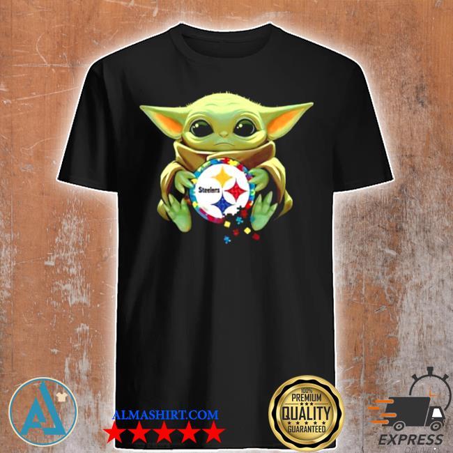 Baby Yoda hug pitbull Steelers logo 2021 shirt