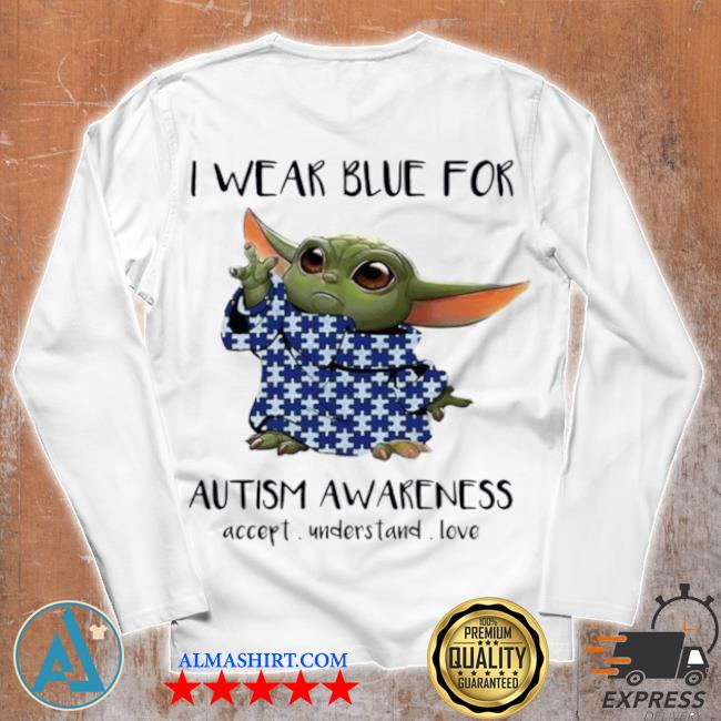 Baby Yoda I wear blue for autism awareness 2021 s Unisex longsleeve