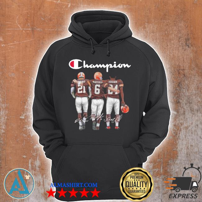 Cleveland browns champion mayfield chubb signatures s Unisex Hoodie