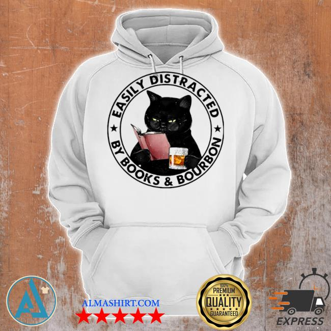 Easily distracted by books and bourbon cat s Unisex Hoodie