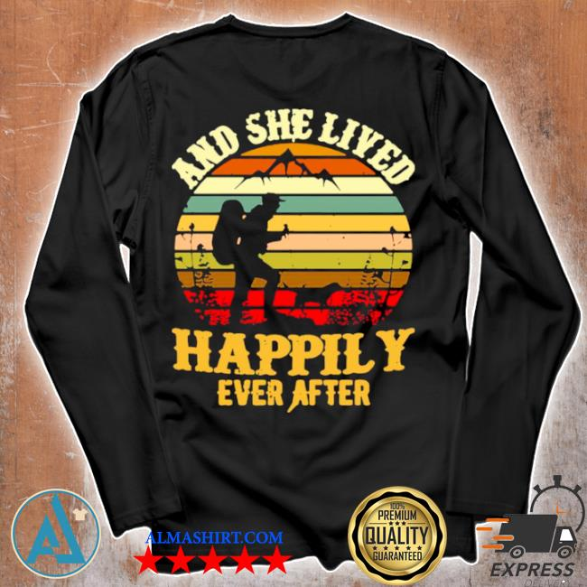 Hiking and she lived happily ever after vintage retro s Unisex longsleeve