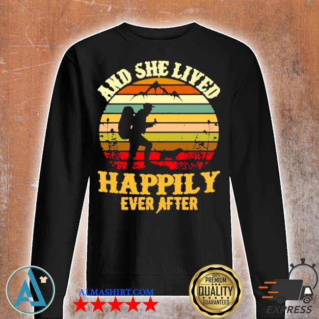 Hiking and she lived happily ever after vintage retro s Unisex sweatshirt