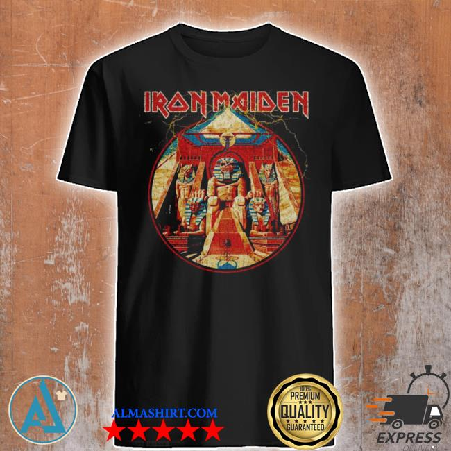 Iron maiden powerslave lightning circle shirt