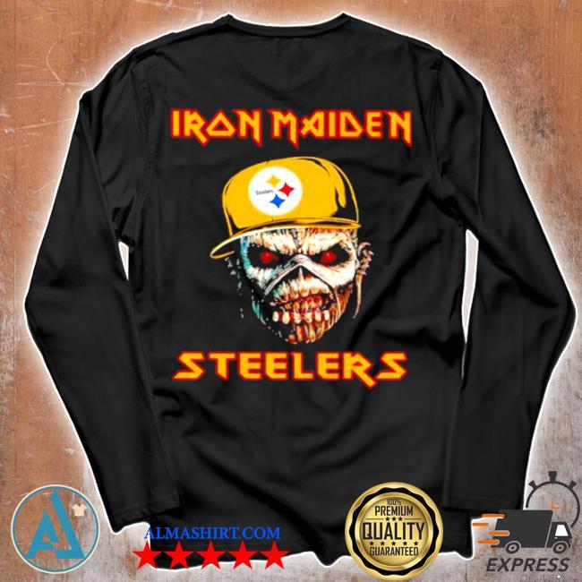 Iron maiden wear hat logo Steelers football s Unisex longsleeve