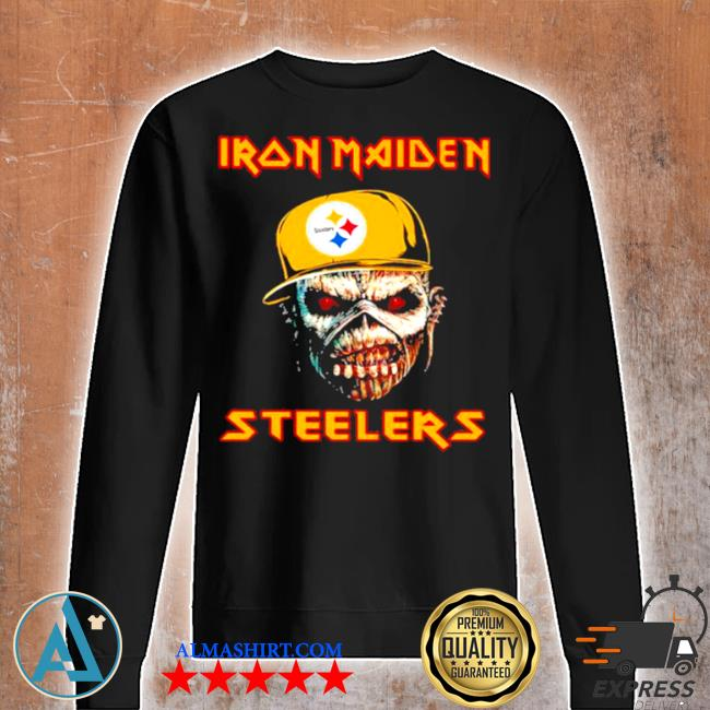 Iron maiden wear hat logo Steelers football s Unisex sweatshirt