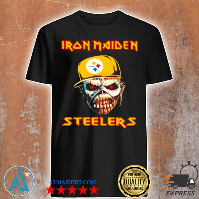 Iron maiden wear hat logo Steelers football shirt