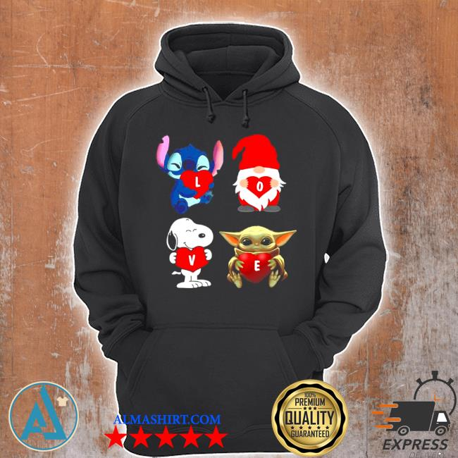 Love stitch gnome Snoopy and Yoda 2021 s Unisex Hoodie