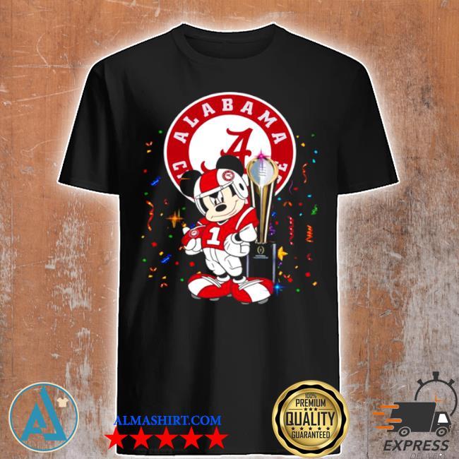Mickey mouse and cup alabama crimson tide football shirt