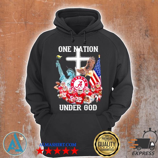 One nation alabama crimson tide under god football American flag cross s Unisex Hoodie