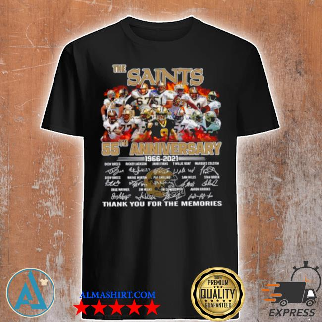 The saints 55th anniversary 1966 2021 signatures thank shirt