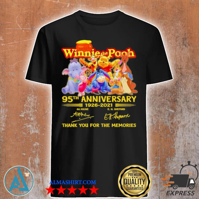 The winnie the pooh characters 95th anniversary 1926 2021 signatures thank shirt