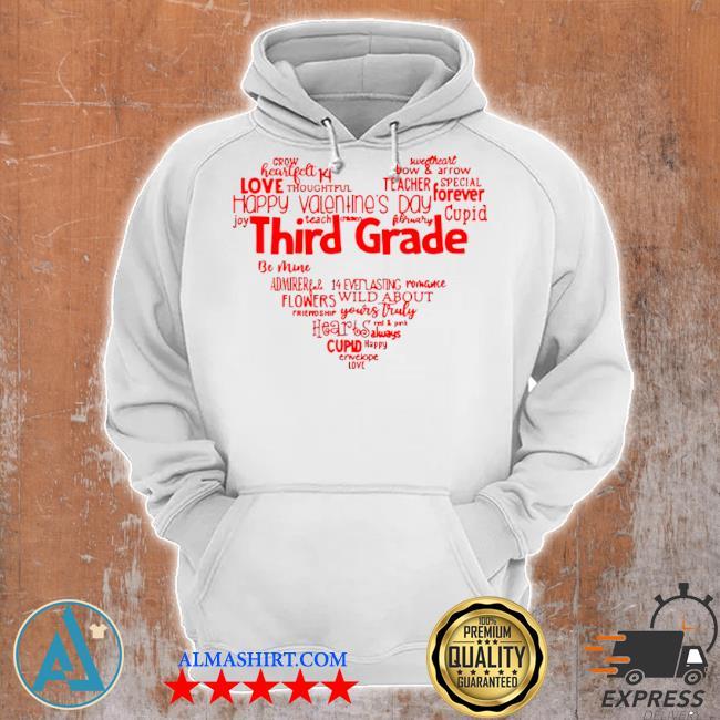 Valentine heart teacher name grade personalized raglan s Unisex Hoodie