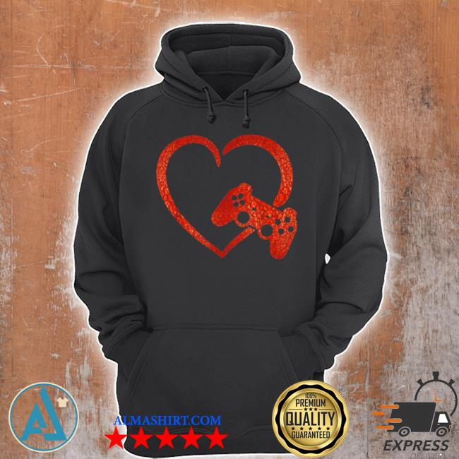 Valentines day video game controller heart gamers boys s Unisex Hoodie