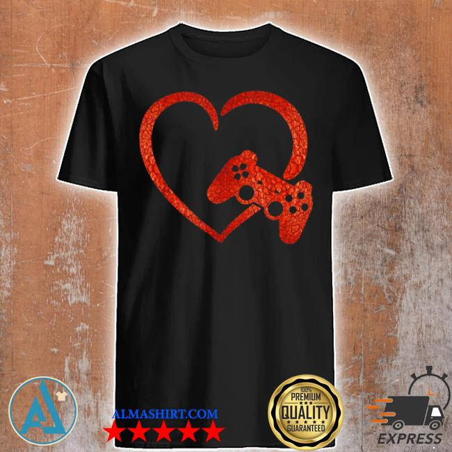 Valentines day video game controller heart gamers boys shirt